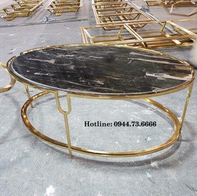 bàn trà elip 2 tầng inox mạ vàng, bàn trà elip 2 tầng, bàn trà oval, bàn trà 2 tầng, bàn sofa elip 2 tầng