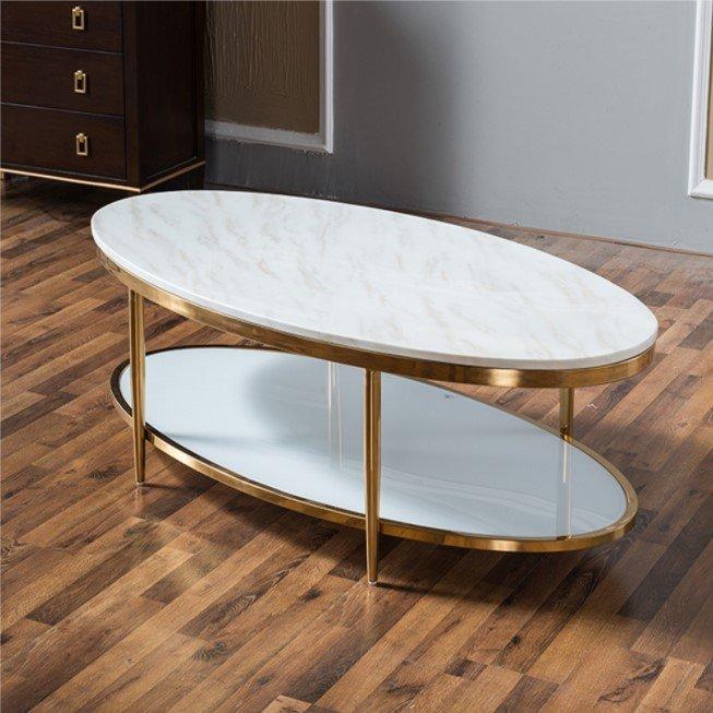 Bàn sofa hình elip mặt đá inox mạ vàng