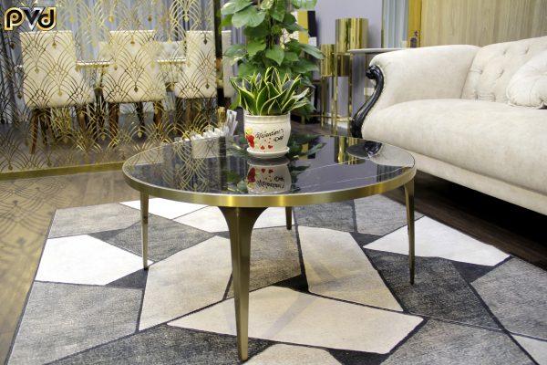 Bàn sofa tròn mặt đá, bàn trà sofa mặt đá tròn, bàn tròn mặt đá chân inox, bàn ăn tròn mặt đá sang trọng