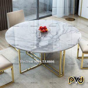 bàn trà tròn chân chữ thập inox mạ vàng