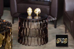 Tab sofa tròn inox mạ vàng