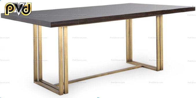 bàn ăn mặt gỗ chân inox mạ vàng
