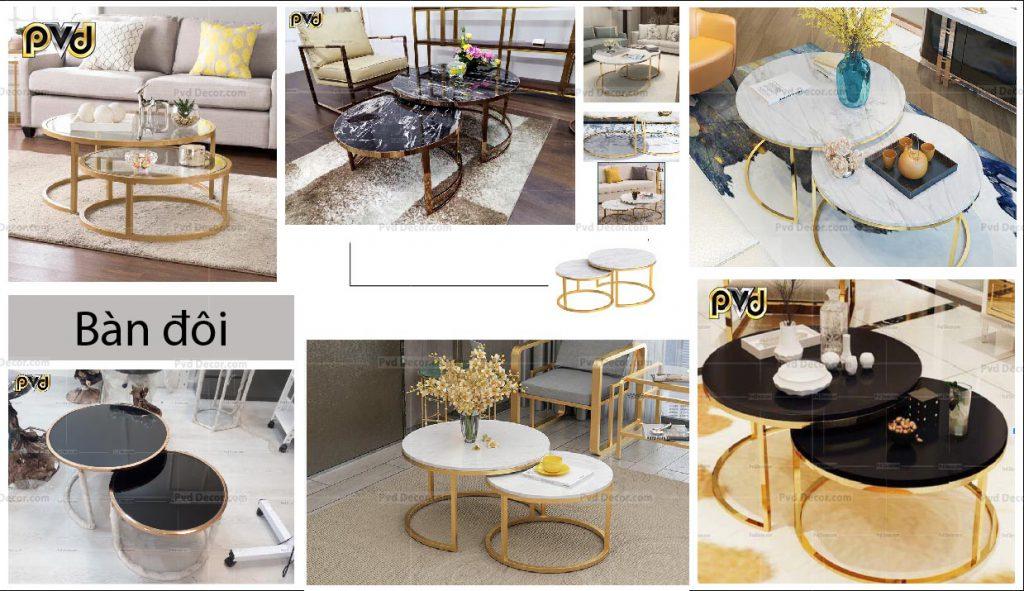 Bộ bàn trà đôi inox mạ vàng phòng khách