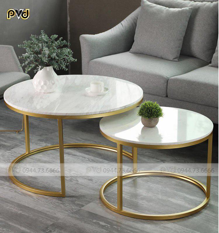 Bộ bàn trà đôi inox mạ vàng