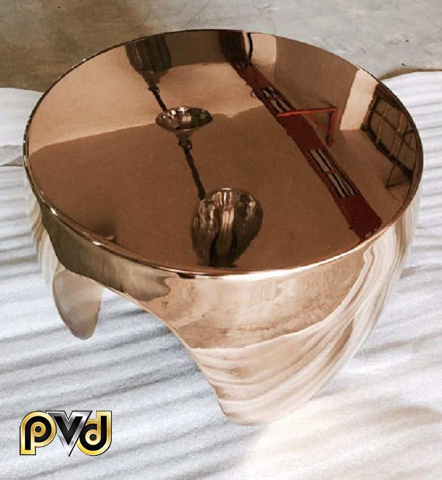 Sản phẩm đồ inox màu vàng hồng trơn bóng dễ vệ sinh