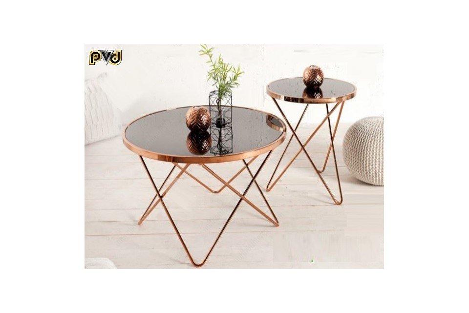 Mẫu bàn trà sofa mặt kính inox mạ đồng