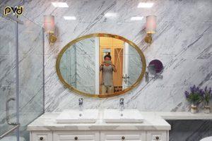 gương hình elip, gương elip, gương nhà tắm elip, gương elip inox mạ vàng, gương hình elip inox mạ vàng