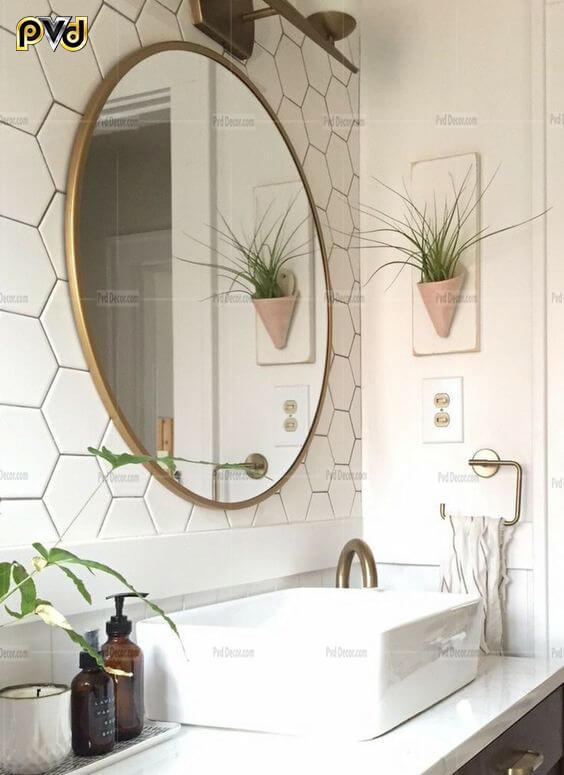 gương tròn nhà tắm, gương tròn phòng tắm, gương tròn treo nhà tắm, gương tròn treo phòng tắm, gương tròn phòng tắm inox mạ vàng