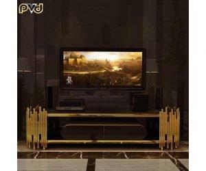 Kệ tivi phòng khách inox mạ vàng