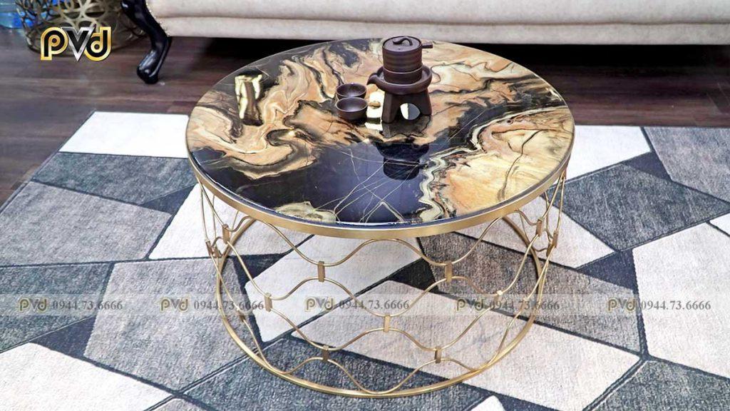 bàn tròn mặt đá inox mạ vàng