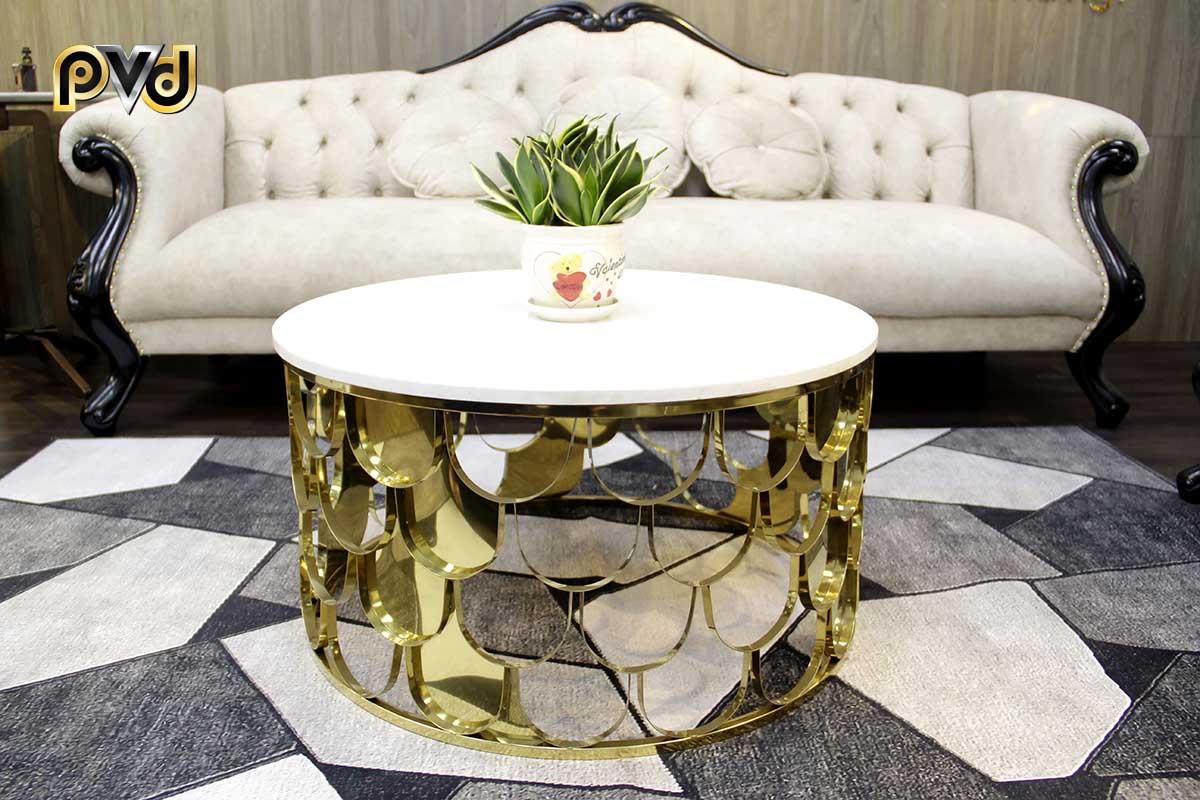 Mẫu bàn trà mặt đá marble