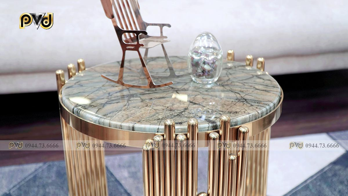 bàn sofa mặt đá chân inox