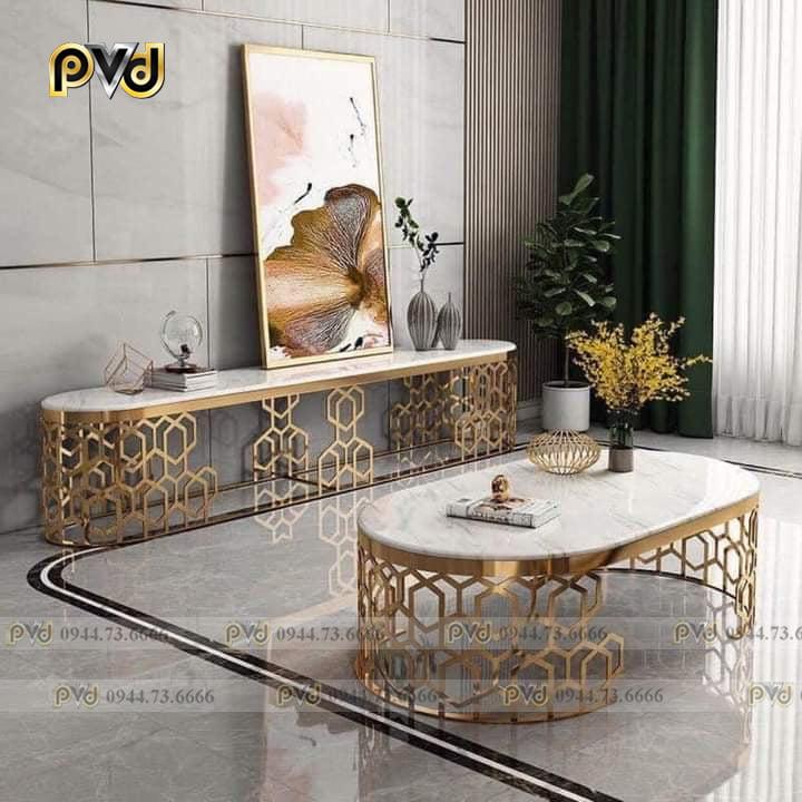 bàn console với bàn trà inox mạ vàng