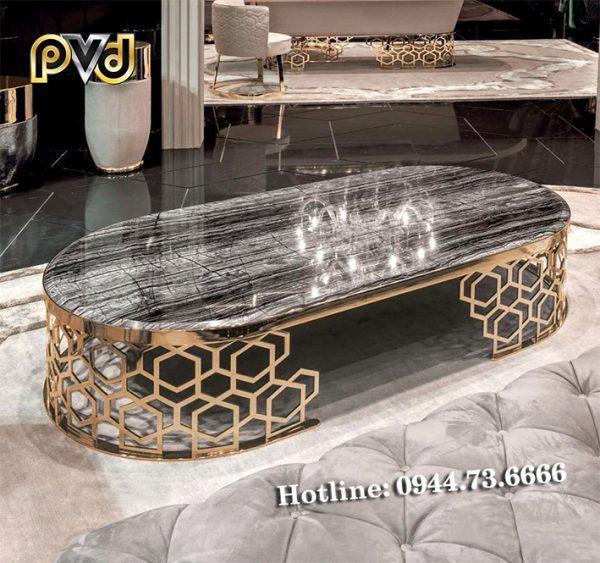 bàn trà chân inox mạ vàng hình elip