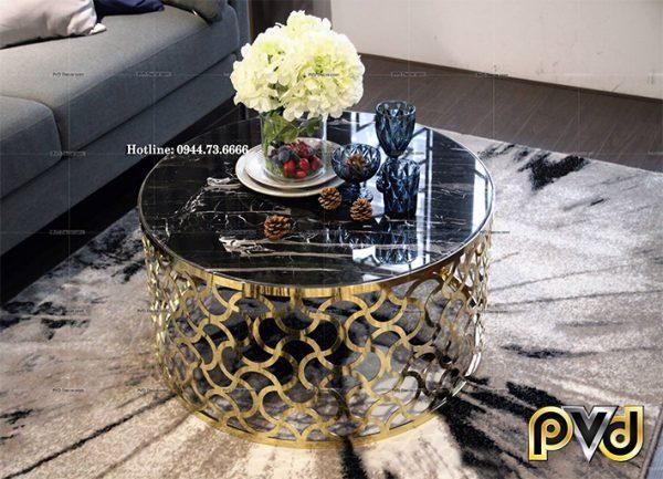 bàn trà tròn chân CNC mạ vàng