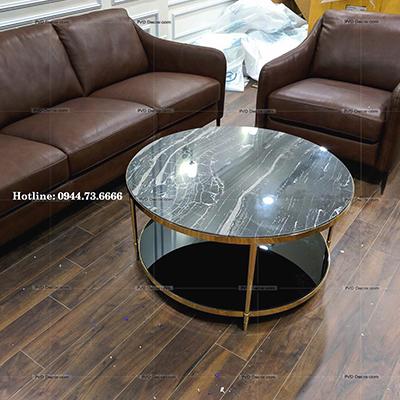 bàn trà tròn inox mạ vàng 2 tầng