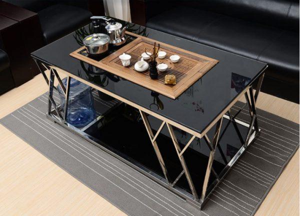 bàn trà vuông mặt đá inox mạ vàng