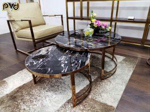 bộ bàn sofa đôi inox mạ vàng PVD