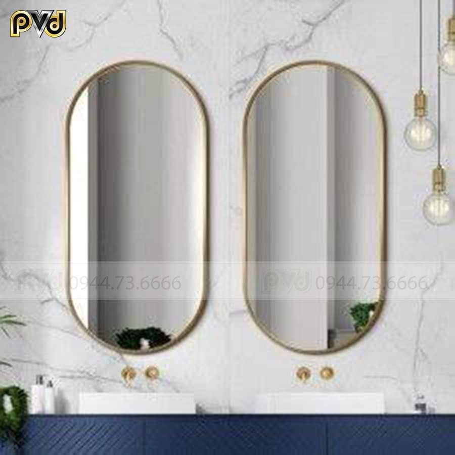 gương inox mạ vàng hình elip