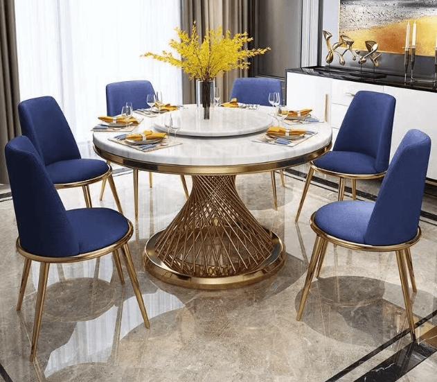 kích thước bàn 6 người hình tròn