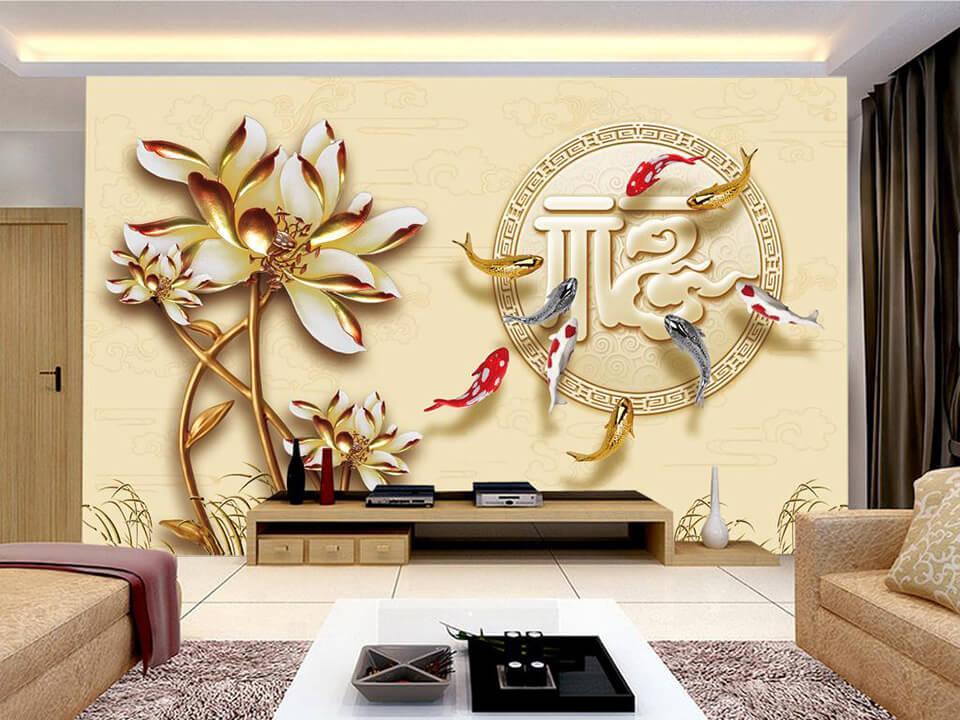 trang trí phòng khách ngày tết với giấy dán tường