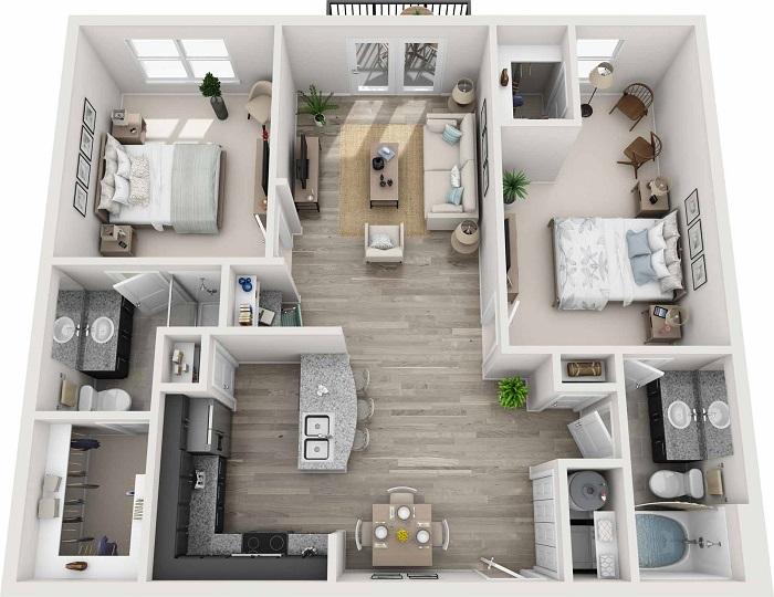 Trang trí phòng khách nhà vuông