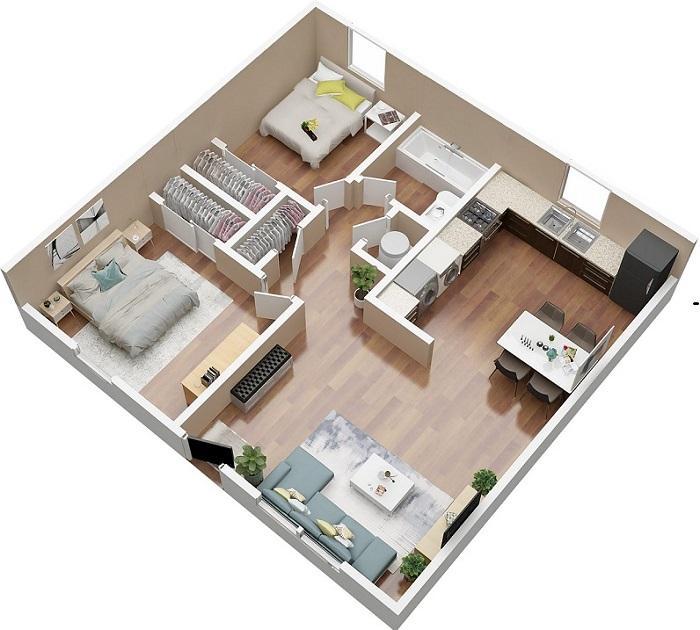 trang trí phòng khách nhà vuông 2 phòng ngủ