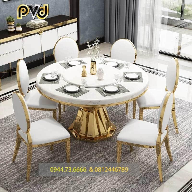 bàn ăn inox mạ vàng