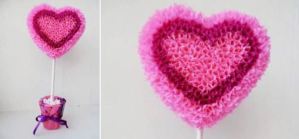 Trái tim trang trí bằng ống hút