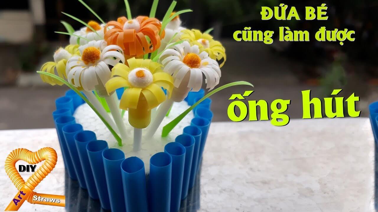 lọ hoa bằng ống hút