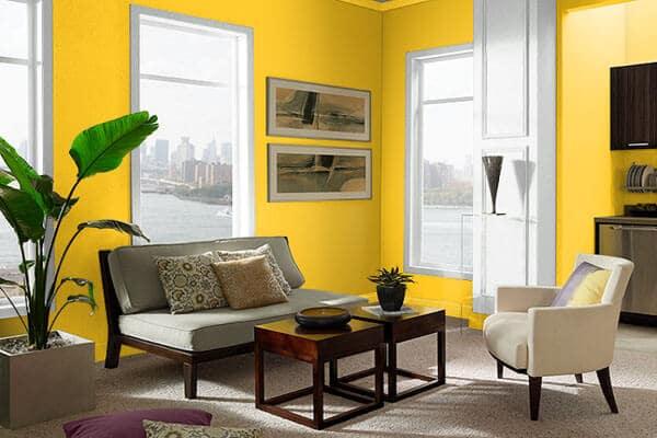 phòng khách nhà ông màu vàng