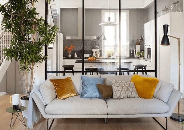 Vách ngăn phòng khách bằng nhôm khung kính