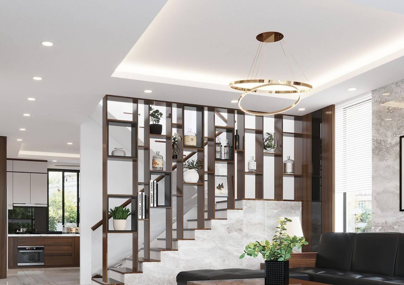 vách ngăn giữa phòng khách và cầu thang đẹp