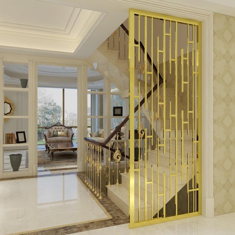 vách ngăn phòng khách và chân cầu thang