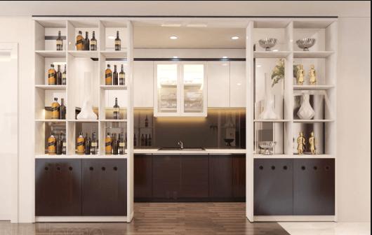 vách trang trí phòng khách kết hợp tủ rượu