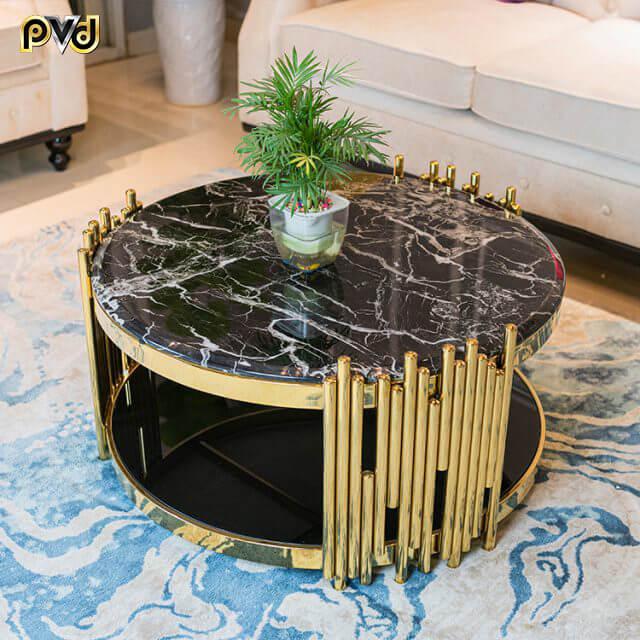 bàn trà sofa mặt đá tròn